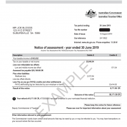 Example of 2018-19  Australian Taxation Office Notice of Assessment